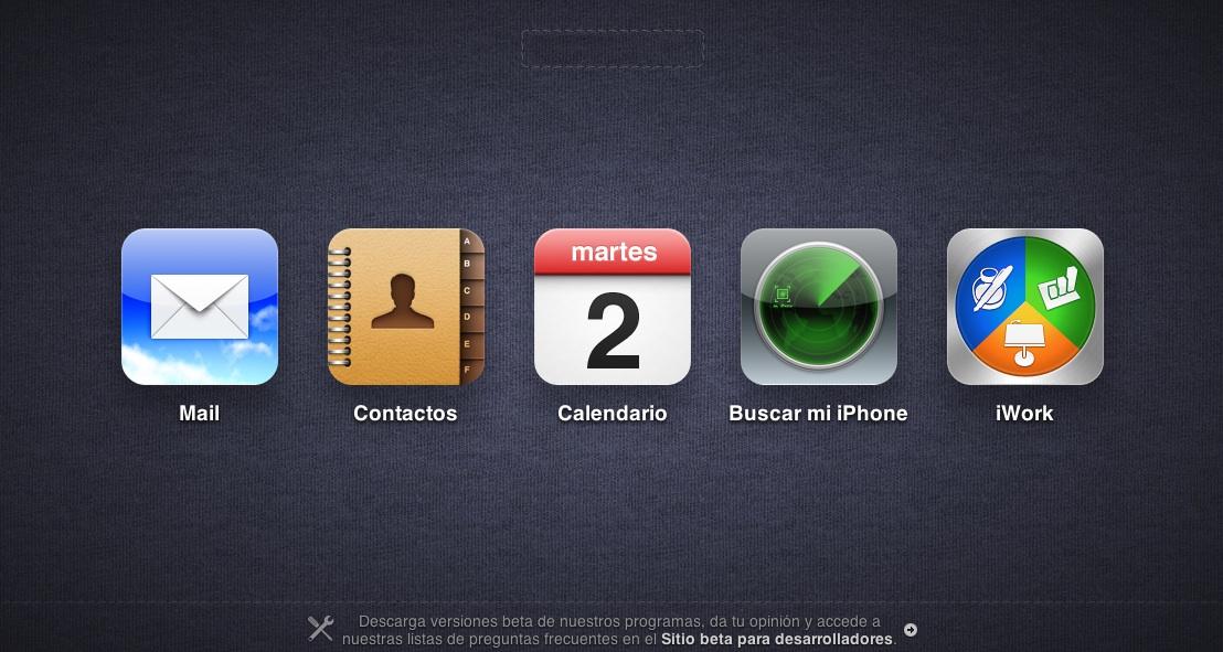 icloud beta pantalla inicio