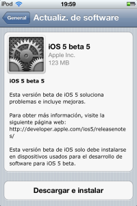 ios 5 beta 5 disponible
