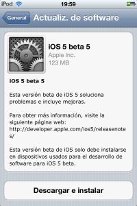 ios 5 beta 5 disponible
