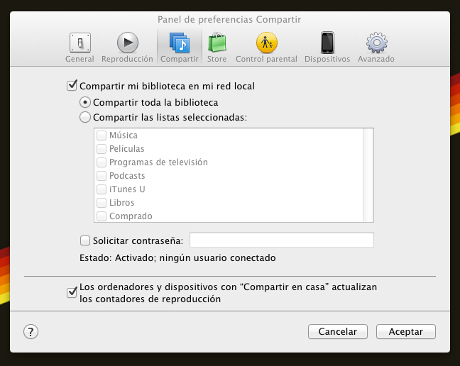 Panel de preferencias Compartir iTunes